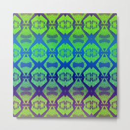 African Vintage Fabric Green Tone Gradient Metal Print
