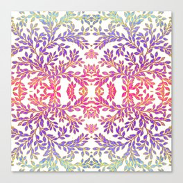 Gorgeous Foliage Pattern - Pastels and Gold Canvas Print