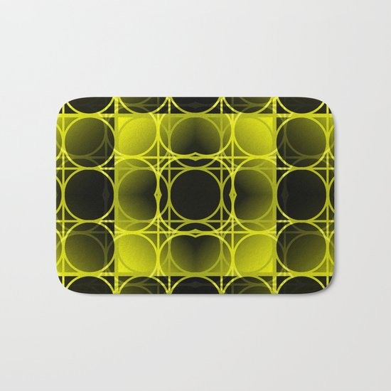 Circles, Grids and Shadows in Black and Yellow Bath Mat