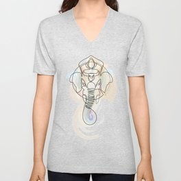 One Line Ganesh Unisex V-Neck