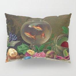 Goldfish Bowl - Floral Still Life with Summer Fruit Harvest and Goldfish Pillow Sham