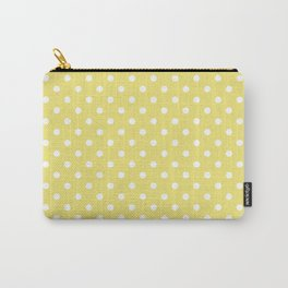 Elegant and Classic White Polka Dots on Pantone's Lemon Verbena Carry-All Pouch