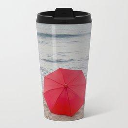 Red Umbrella lying at the beach III Travel Mug