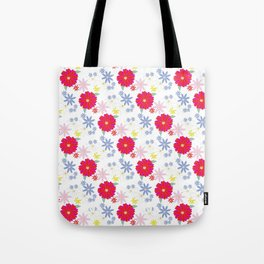 Zinnia Pattern Red and White Tote Bag