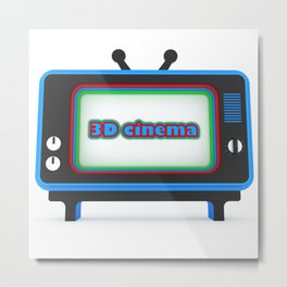 3D illustration of a stylized TV. Metal Print