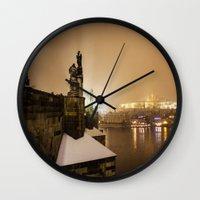 prague Wall Clocks featuring Prague 6 by Veronika