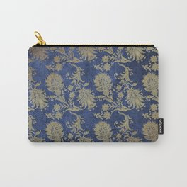 Blue Velvet Gold Floral Pattern 06 Carry-All Pouch