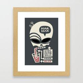 Evel Alein Deth Skul Dirnk Blod Framed Art Print