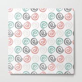 Modern coral teal watercolor swirls pattern Metal Print