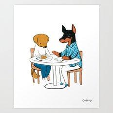 Doberman Social Worker (Dogs with Jobs series) Art Print