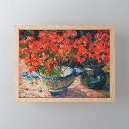 Still Life with Red Flowers floral portrait painting Helene Cramer Framed Mini Art Print