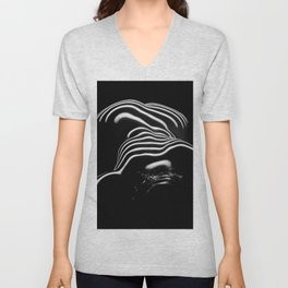 0686-AR BW Contemporary Art Nude Large Woman BBW Graceful and Strong Unisex V-Neck