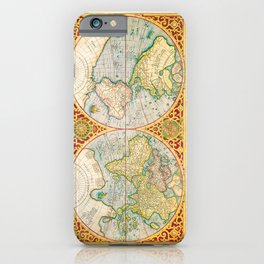 Beautiful Historic World Map by by Gerhard Mercator (1637) iPhone Case