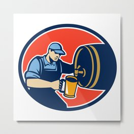 Brewer Bartender Pour Beer Pitcher Barrel Retro Metal Print
