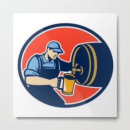 Brewer Bartender Pour Beer Pitcher Barrel Retro Metal Print