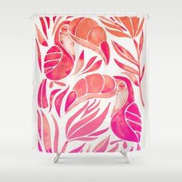 Tropical Toucans – Pink Ombré Palette Shower Curtain