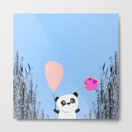 Cute Panda and Bird Metal Print