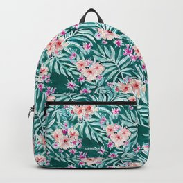 FRONDS ON FLEEK Tropical Palm Floral Backpack