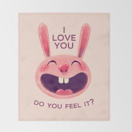 Bunny with love Throw Blanket