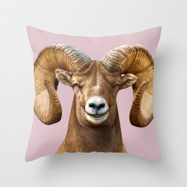 Smiling Bighorn Sheep Throw Pillow