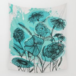 Oceanic Flowers Wall Tapestry