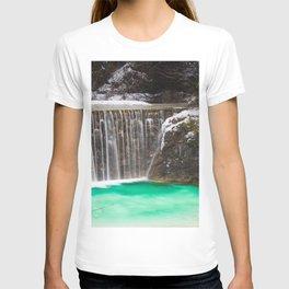 Waterfall stunning turquoise water lake Jasna, Slovenia T-shirt