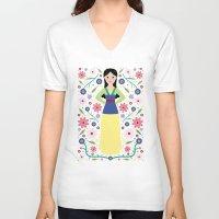 mulan V-neck T-shirts featuring Mulan by Carly Watts