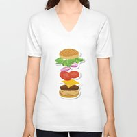 burger V-neck T-shirts featuring Burger by Daily Design