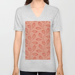 Climbing Leaves In Two Tone Living Coral Unisex V-Neck