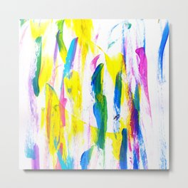 Paint Smears Colorful Abstract Metal Print