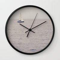 sailboat Wall Clocks featuring Sailboat by Jessica Torres Photography