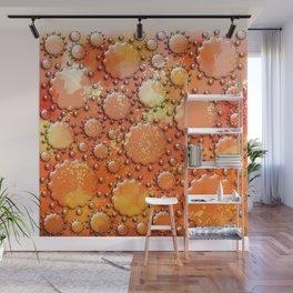 Glass flowers on orange Wall Mural