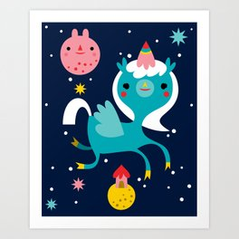 Space Unicorn Art Print