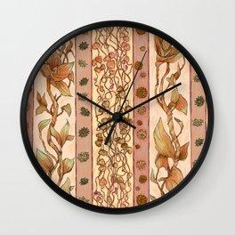 Leaves Orange Pattern Wall Clock