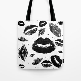 Kisses All Over (Black & White) Tote Bag