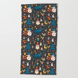 Christmas symbols pattern Beach Towel