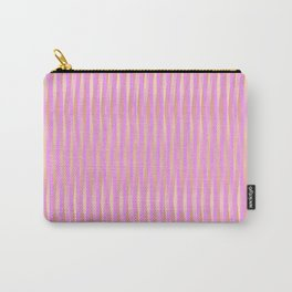 Fuzzy Pink Vertical Stripe Pattern Carry-All Pouch
