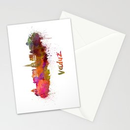 Vaduz skyline in watercolor Stationery Cards
