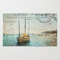 postcard Area & Throw Rugs featuring Vintage Sailing Days Postcard by Louisa Catharine Photography And Art