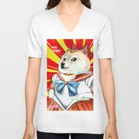 doge V-neck T-shirts featuring Sailor Doge by Michael Thomas Grant
