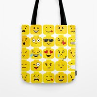 emoji Tote Bags featuring Emoji-Minifigure by Raddington Falls