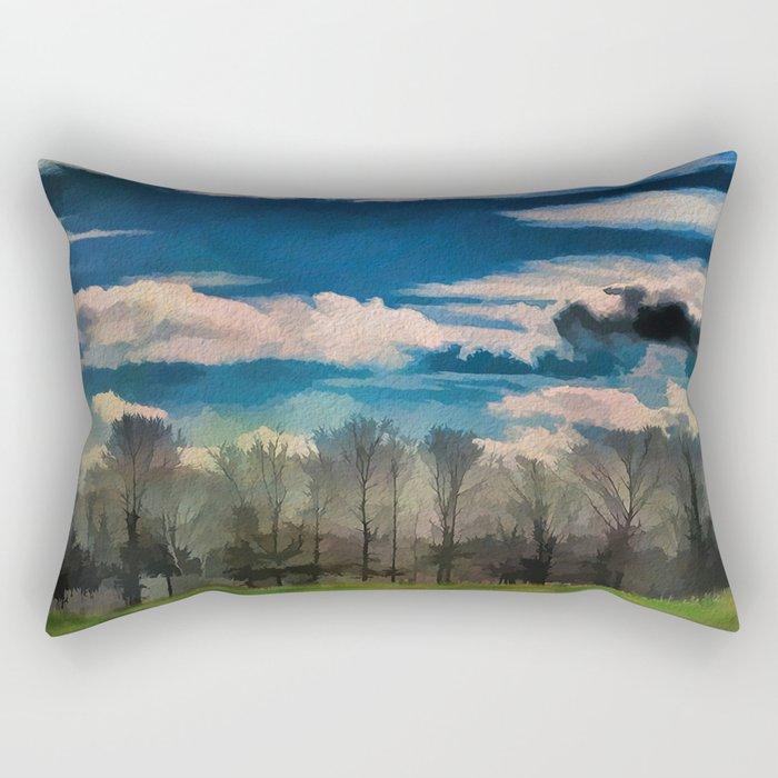 Watercolor Foggy Woodlands Rectangular Pillow