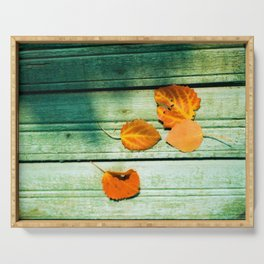 four yellow leaves Serving Tray
