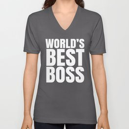 WORLD'S BEST BOSS (Black & White) Unisex V-Neck