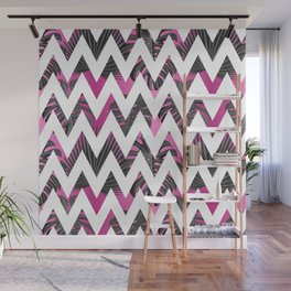 Abstract pink gray white chevron tropical monster leaves Wall Mural