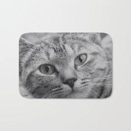 Black and White Cat Face Bath Mat