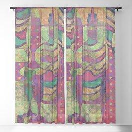 Wine Glass Abstract Art Decor Sheer Curtain