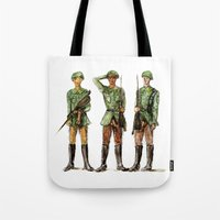 top gun Tote Bags featuring Barely Soldiers by Torrinika