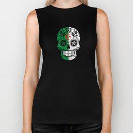 Sugar Skull with Roses and Flag of Algeria Biker Tank