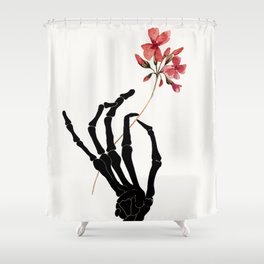 Skeleton Hand with Flower Shower Curtain
